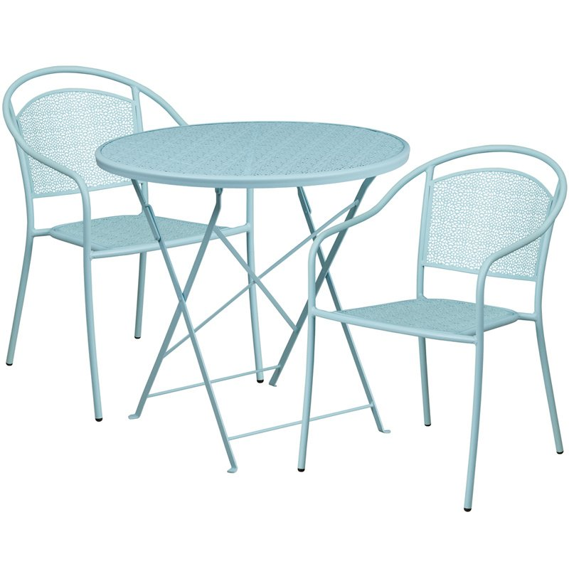 """Flash Furniture 30"""" Round Sky Blue Indoor-Outdoor Steel Folding Patio Table Set with 2 Round Back Chairs"""