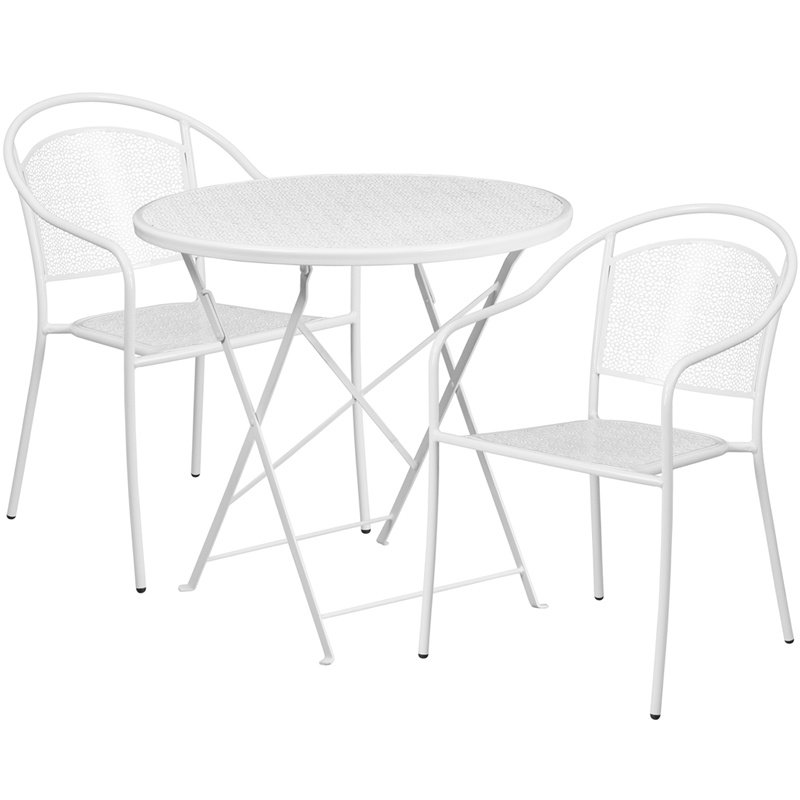 "Flash Furniture 30"" Round White Indoor-Outdoor Steel Folding Patio Table Set with 2 Round Back Chairs"