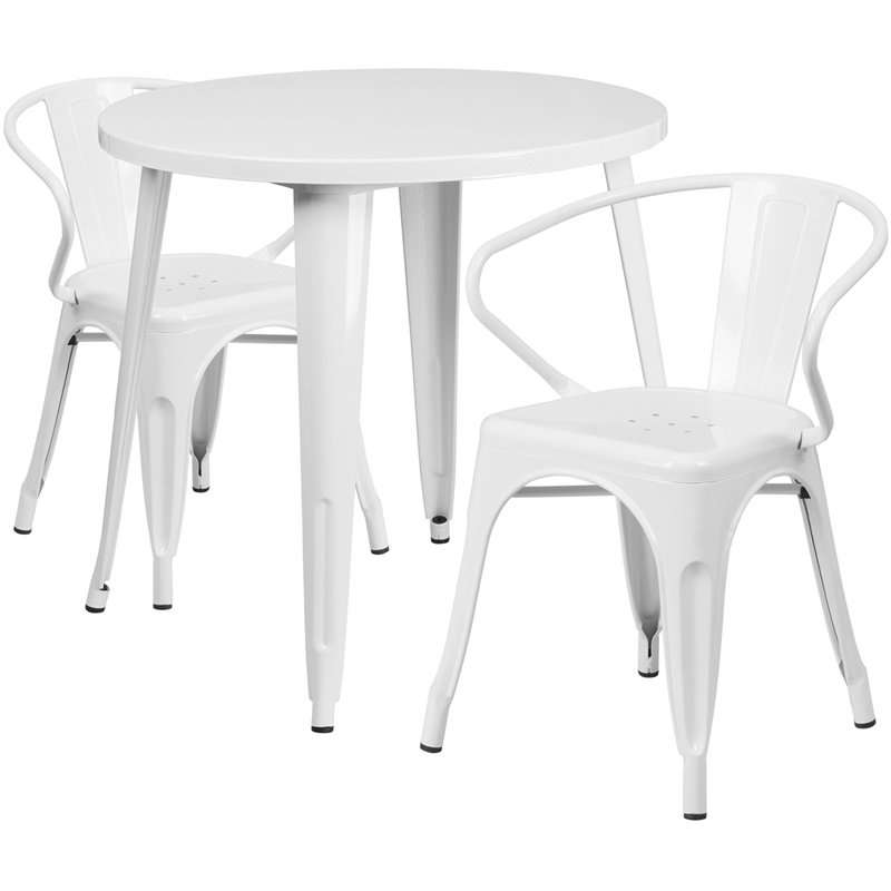 """Flash Furniture 30"""" Round White Metal Indoor-Outdoor Table Set with 2 Arm Chairs (CH-51090TH-2-18ARM-WH-GG)"""