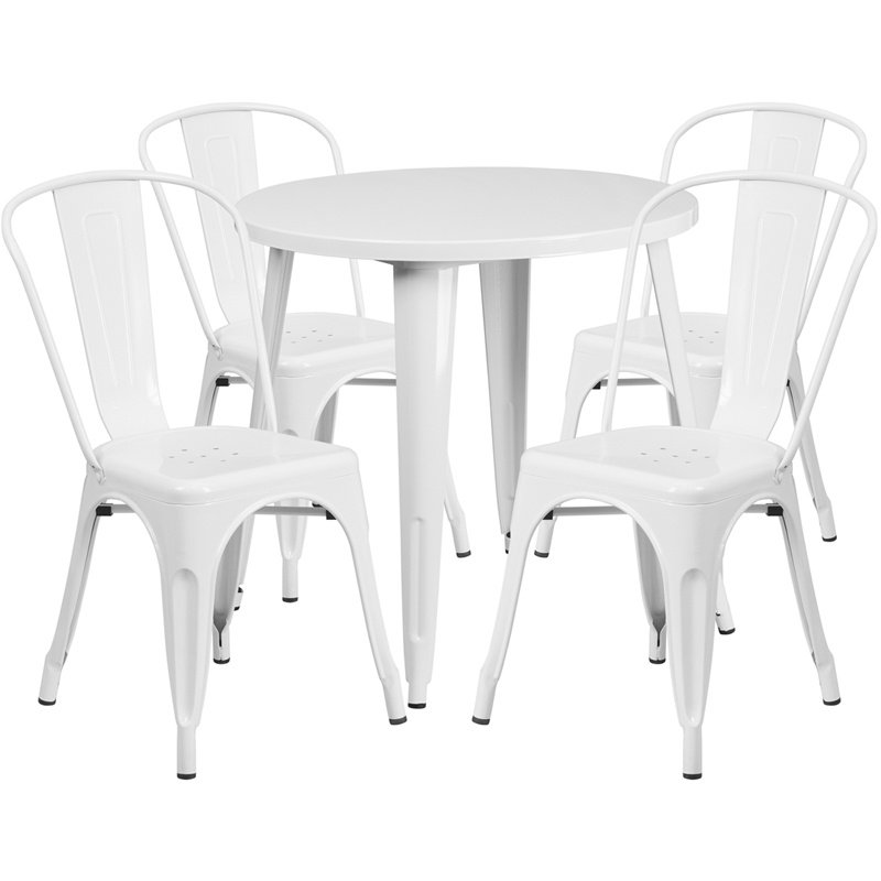 """Flash Furniture 30"""" Round White Metal Indoor-Outdoor Table Set with 4 Cafe Chairs (CH-51090TH-4-18CAFE-WH-GG)"""