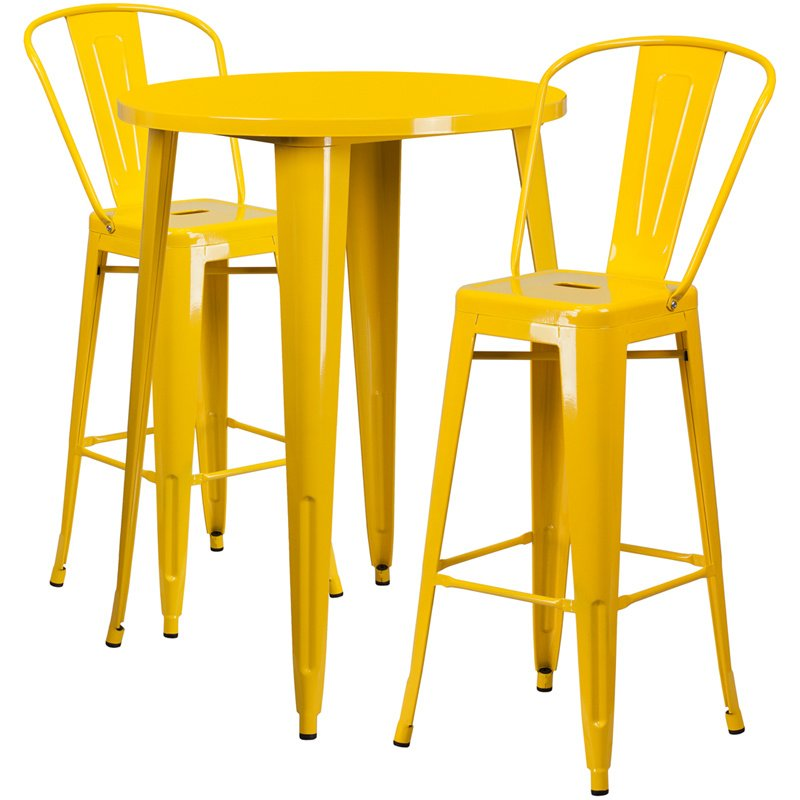 """Flash Furniture 30"""" Round Yellow Metal Indoor-Outdoor Bar Table Set with 2 Cafe Barstools (CH-51090BH-2-30CAFE-YL-GG)"""