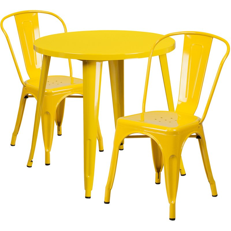 "Flash Furniture 30"" Round Yellow Metal Indoor-Outdoor Table Set with 2 Cafe Chairs (CH-51090TH-2-18CAFE-YL-GG)"