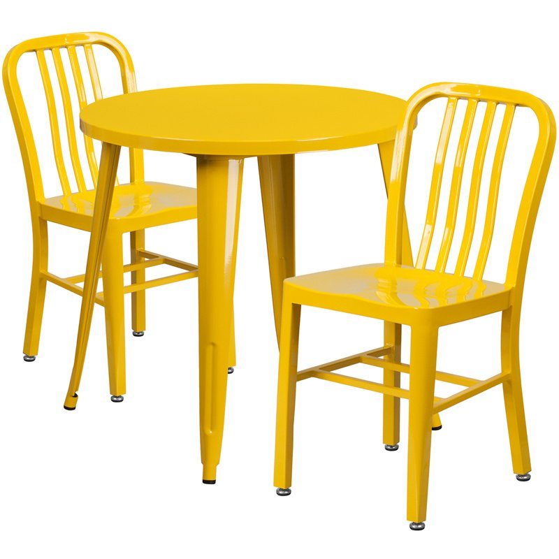 """Flash Furniture 30"""" Round Yellow Metal Indoor-Outdoor Table Set with 2 Vertical Slat Back Chairs (CH-51090TH-2-18VRT-YL-GG)"""