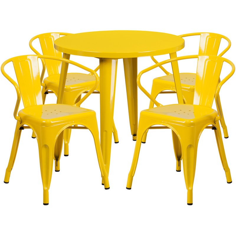 """Flash Furniture 30"""" Round Yellow Metal Indoor-Outdoor Table Set with 4 Arm Chairs (CH-51090TH-4-18ARM-YL-GG)"""
