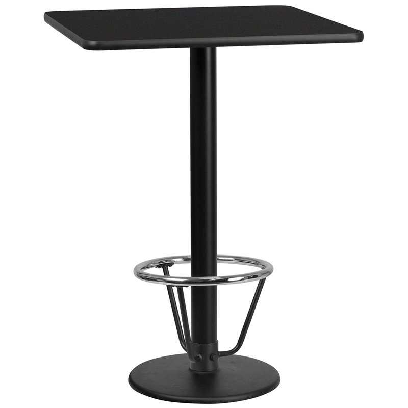 """Flash Furniture 30"""" Square Black Laminate Table Top with 18"""" Round Bar Height Table Base and Foot Ring (XU-BLKTB-3030-TR18B-3CFR-GG)"""