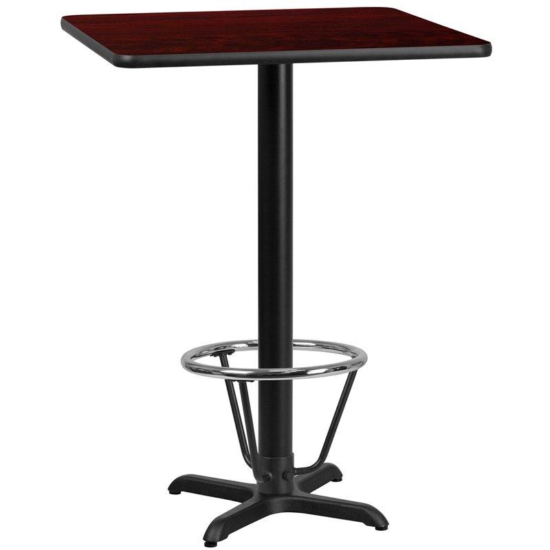 "Flash Furniture 30"" Square Mahogany Laminate Table Top with 22"" x 22"" Bar Height Table Base and Foot Ring (XU-MAHTB-3030-T2222B-3CFR-GG)"