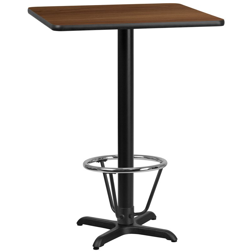 """Flash Furniture 30"""" Square Walnut Laminate Table Top with 22"""" x 22"""" Bar Height Table Base and Foot Ring (XU-WALTB-3030-T2222B-3CFR-GG)"""