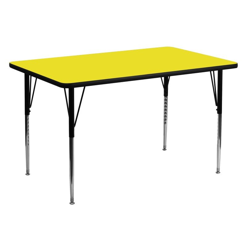 Flash Furniture 30''W x 60''L Rectangular Activity Table with 1.25'' Thick High Pressure Yellow Laminate Top and Standard Height Adjustable Legs