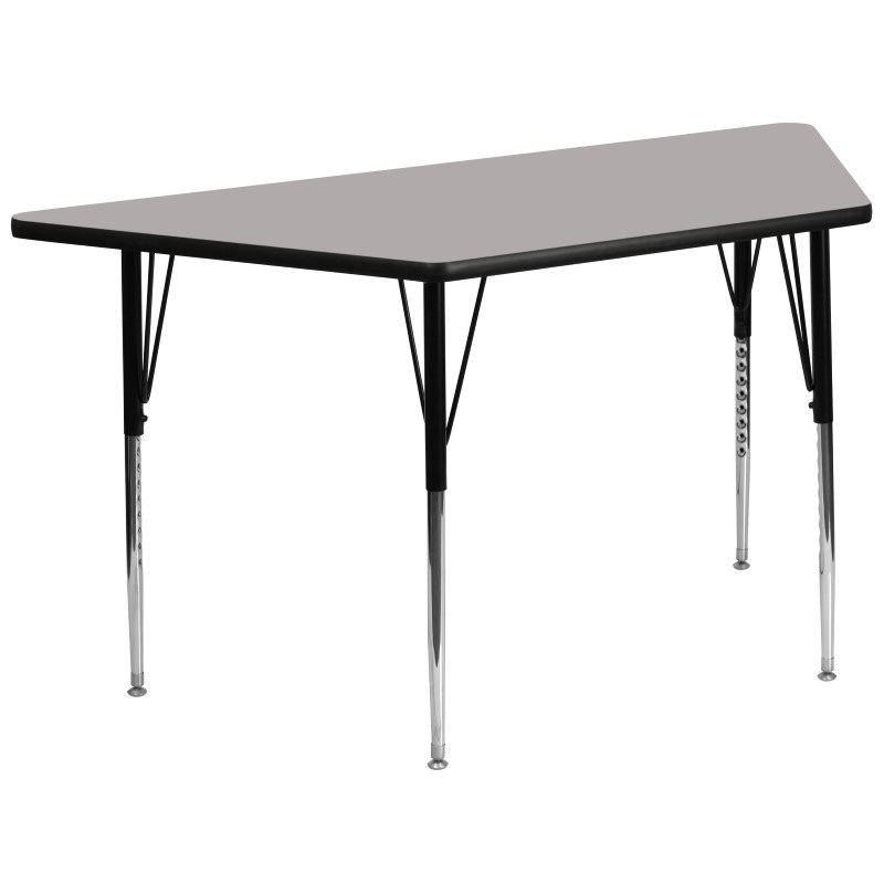Flash Furniture 30''W x 60''L Trapezoid Activity Table with 1.25'' Thick High Pressure Grey Laminate Top and Standard Height Adjustable Legs