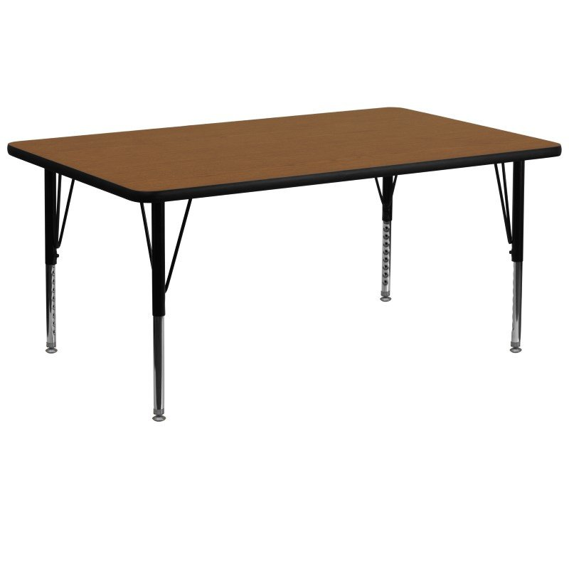 Flash Furniture 30''W x 72''L Rectangular Activity Table with 1.25'' Thick High Pressure Oak Laminate Top and Height Adjustable Preschool Legs