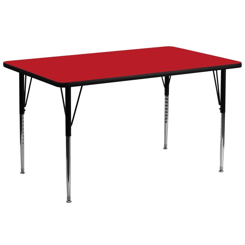 Flash Furniture 30''W x 72''L Rectangular Activity Table with 1.25'' Thick High Pressure Red Laminate Top and Standard Height Adjustable Legs