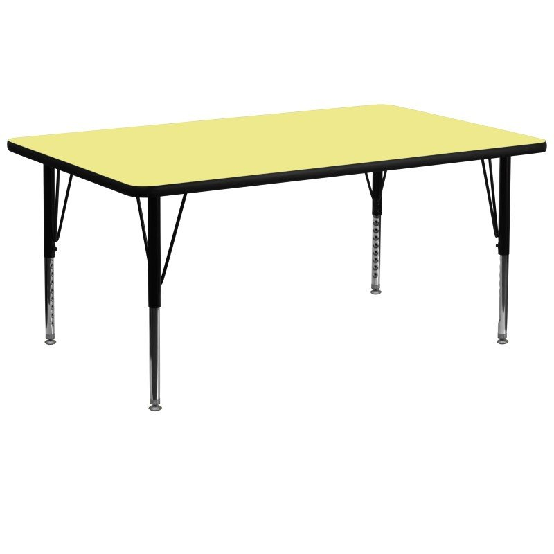 Flash Furniture 30''W x 72''L Rectangular Activity Table with Yellow Thermal Fused Laminate Top and Height Adjustable Preschool Legs