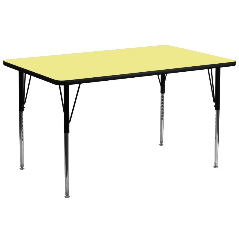 Flash Furniture 30''W x 72''L Rectangular Activity Table with Yellow Thermal Fused Laminate Top and Standard Height Adjustable Legs