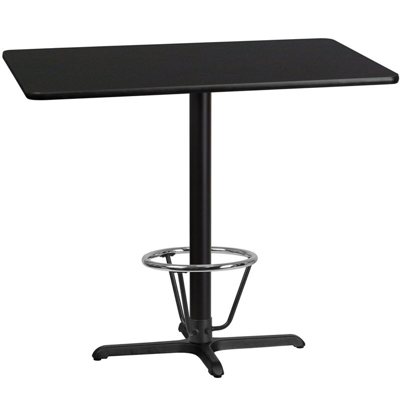 """Flash Furniture 30"""" x 48"""" Rectangular Black Laminate Table Top with 22"""" x 30"""" Bar Height Table Base and Foot Ring (XU-BLKTB-3048-T2230B-3CFR-GG)"""