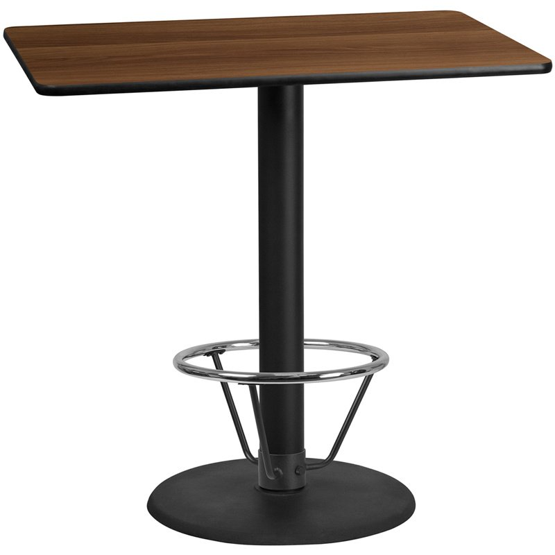 """Flash Furniture 30"""" x 48"""" Rectangular Walnut Laminate Table Top with 24"""" Round Bar Height Table Base and Foot Ring (XU-WALTB-3048-TR24B-4CFR-GG)"""