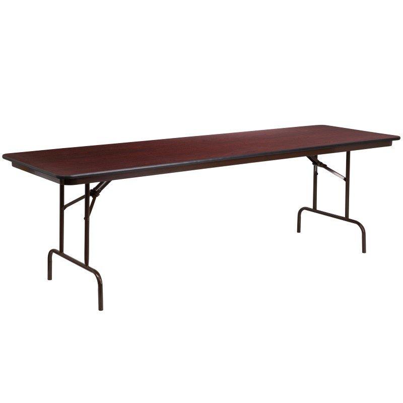 Flash Furniture 30'' x 96'' Rectangular High Pressure Mahogany Laminate Folding Banquet Table