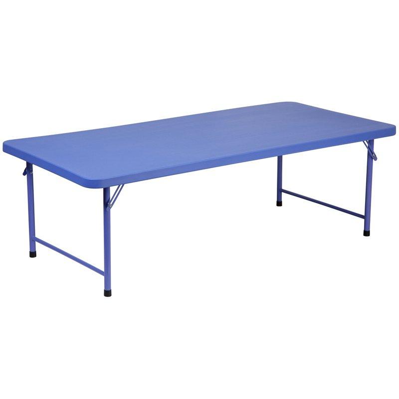"""Flash Furniture 30""""W x 60""""L x 19""""H Kid's Blue Plastic Folding Table (RB-3060-KID-BL-GG)"""