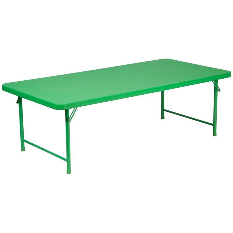 """Flash Furniture 30""""W x 60""""L x 19""""H Kid's Green Plastic Folding Table (RB-3060-KID-GN-GG)"""
