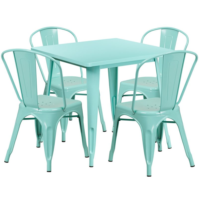"""Flash Furniture 31.5"""" Square Mint Green Metal Indoor-Outdoor Table Set with 4 Stack Chairs (ET-CT002-4-30-MINT-GG)"""