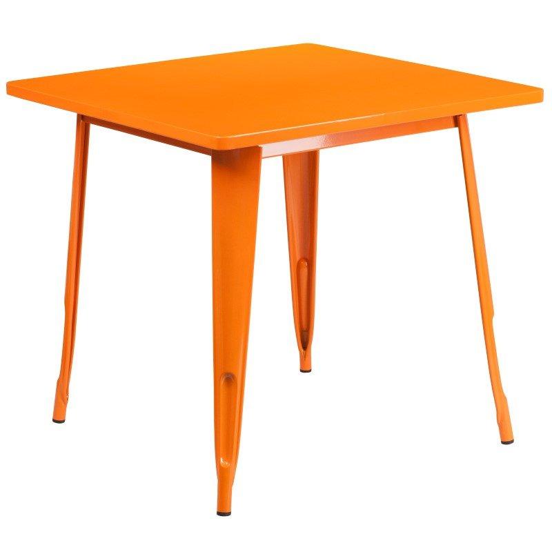 Flash Furniture 31.5'' Square Orange Metal Indoor Table