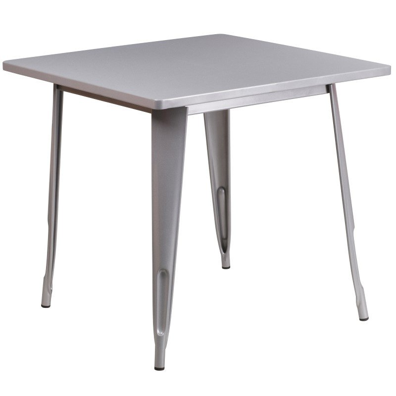 Flash Furniture 31.5'' Square Silver Metal Indoor Table