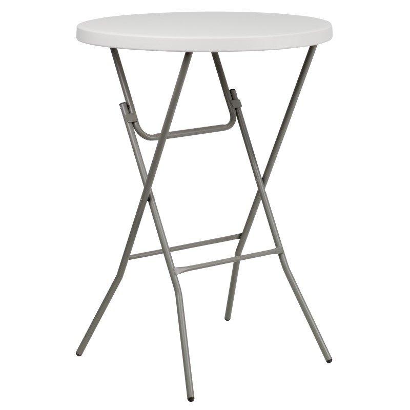 Flash Furniture 32'' Round Granite White Plastic Bar Height Folding Table