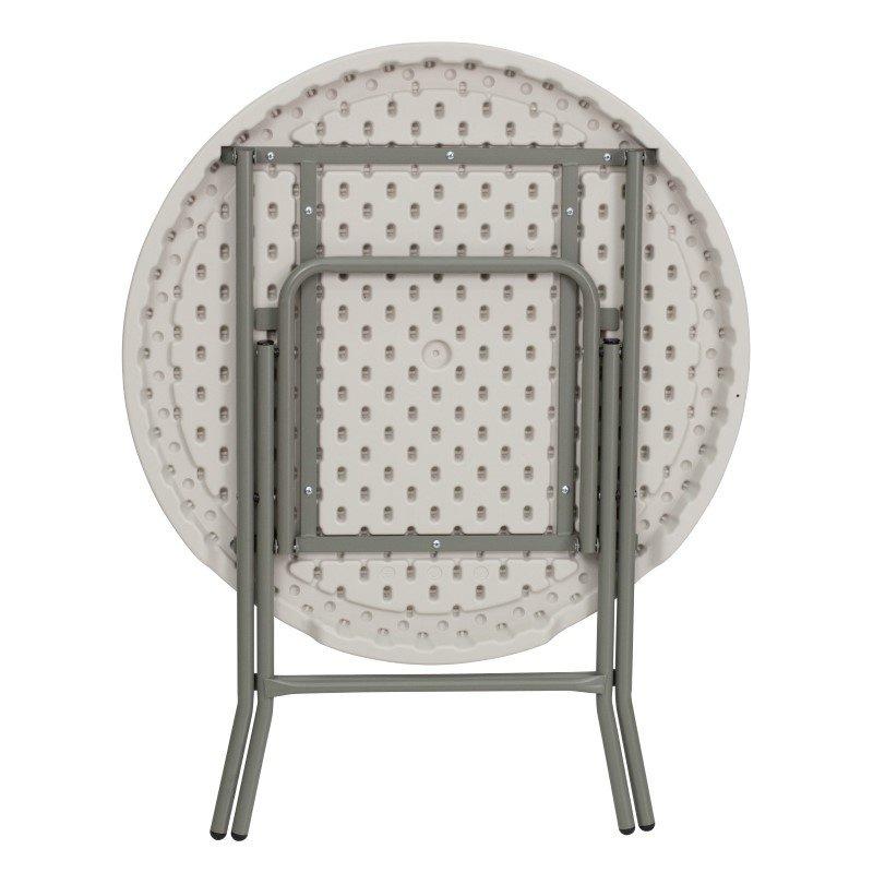 Flash Furniture 32'' Round Granite White Plastic Folding Table