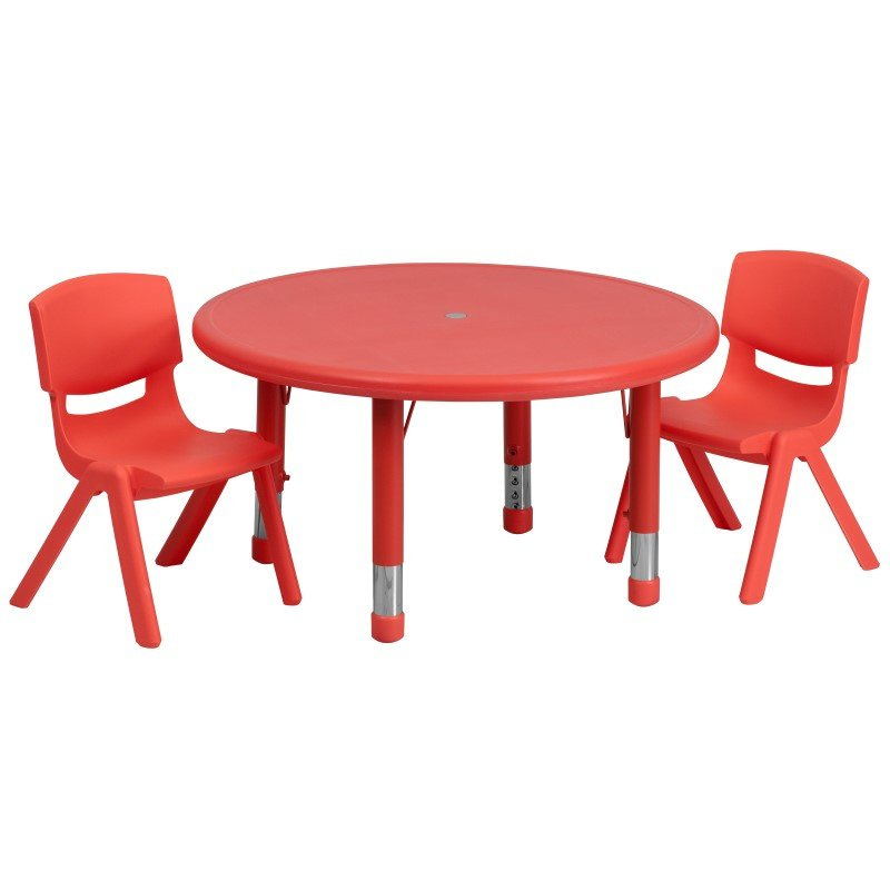 Flash Furniture 33'' Round Adjustable Red Plastic Activity Table Set with 2 School Stack Chairs