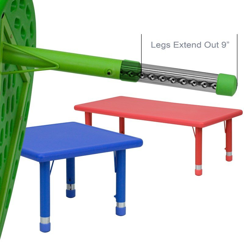 Flash Furniture 33'' Round Height Adjustable Green Plastic Activity Table