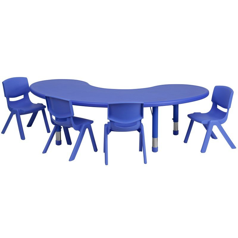 Flash Furniture 35''W x 65''L Adjustable Half-Moon Blue Plastic Activity Table Set with 4 School Stack Chairs