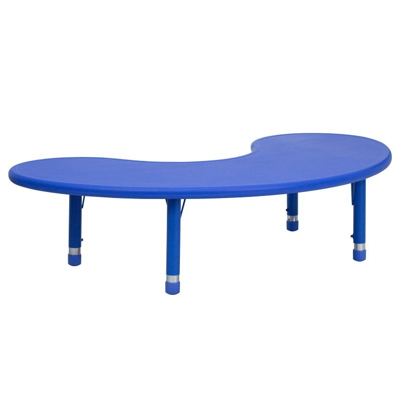 Flash Furniture 35''W x 65''L Height Adjustable Half-Moon Blue Plastic Activity Table