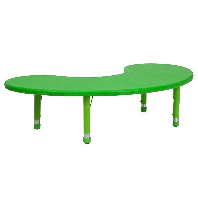 Flash Furniture 35''W x 65''L Height Adjustable Half-Moon Green Plastic Activity Table