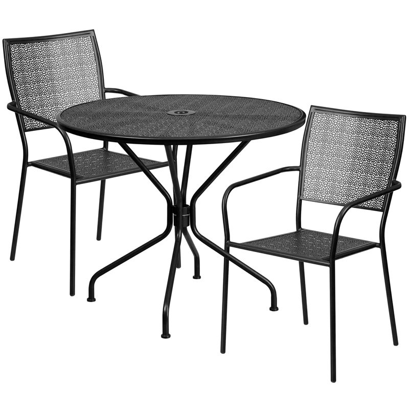 "Flash Furniture 35.25"" Round Black Indoor-Outdoor Steel Patio Table Set with 2 Square Back Chairs (CO-35RD-02CHR2-BK-GG)"