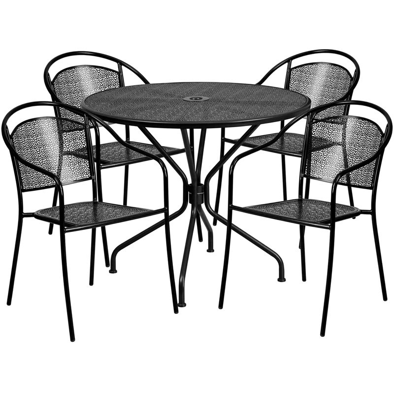 """Flash Furniture 35.25"""" Round Black Indoor-Outdoor Steel Patio Table Set with 4 Round Back Chairs (CO-35RD-03CHR4-BK-GG)"""