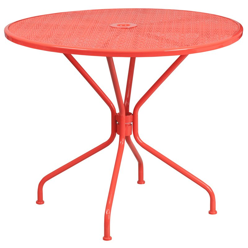 "Flash Furniture 35.25"" Round Coral Indoor-Outdoor Steel Patio Table"