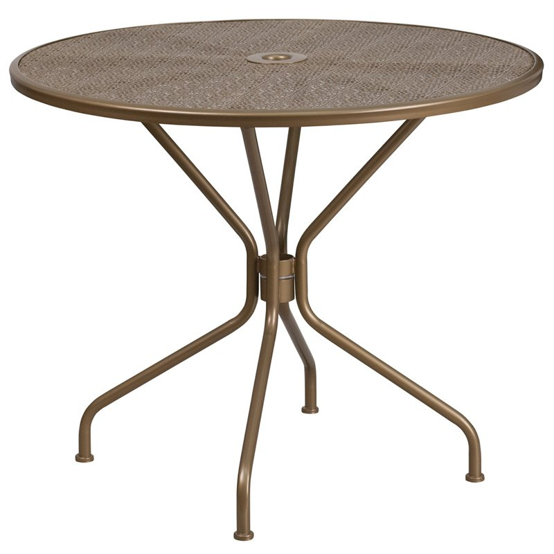 "Flash Furniture 35.25"" Round Gold Indoor-Outdoor Steel Patio Table"