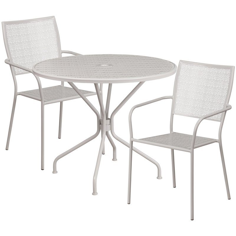 """Flash Furniture 35.25"""" Round Light Gray Indoor-Outdoor Steel Patio Table Set with 2 Square Back Chairs"""