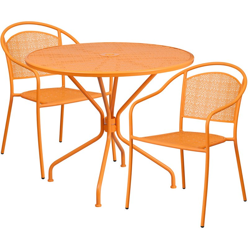 "Flash Furniture 35.25"" Round Orange Indoor-Outdoor Steel Patio Table Set with 2 Round Back Chairs"