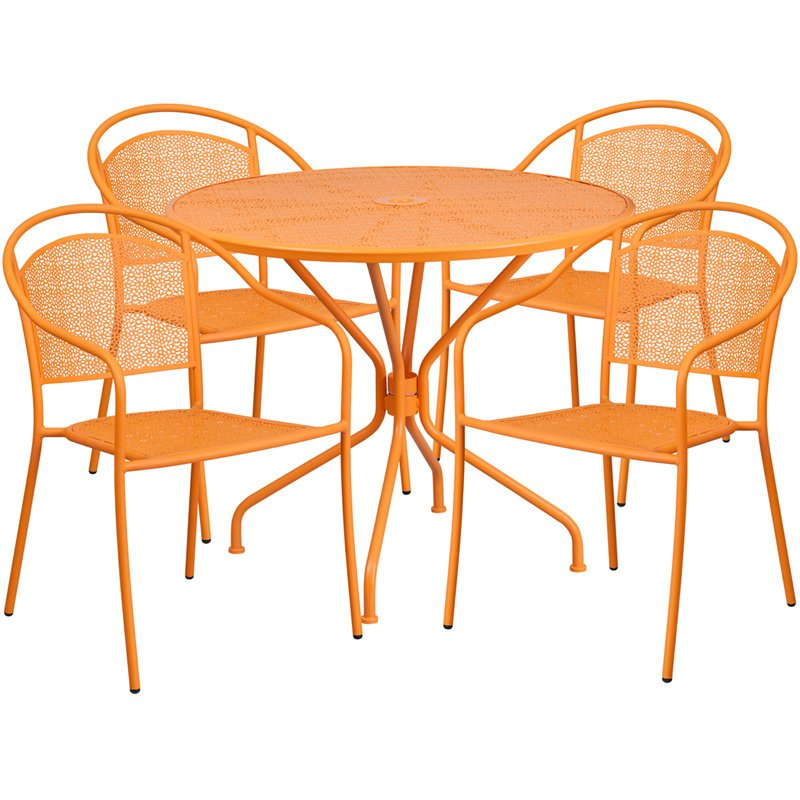 """Flash Furniture 35.25"""" Round Orange Indoor-Outdoor Steel Patio Table Set with 4 Round Back Chairs"""