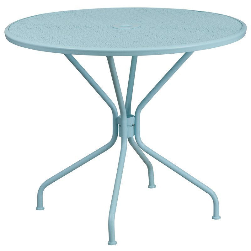 "Flash Furniture 35.25"" Round Sky Blue Indoor-Outdoor Steel Patio Table"