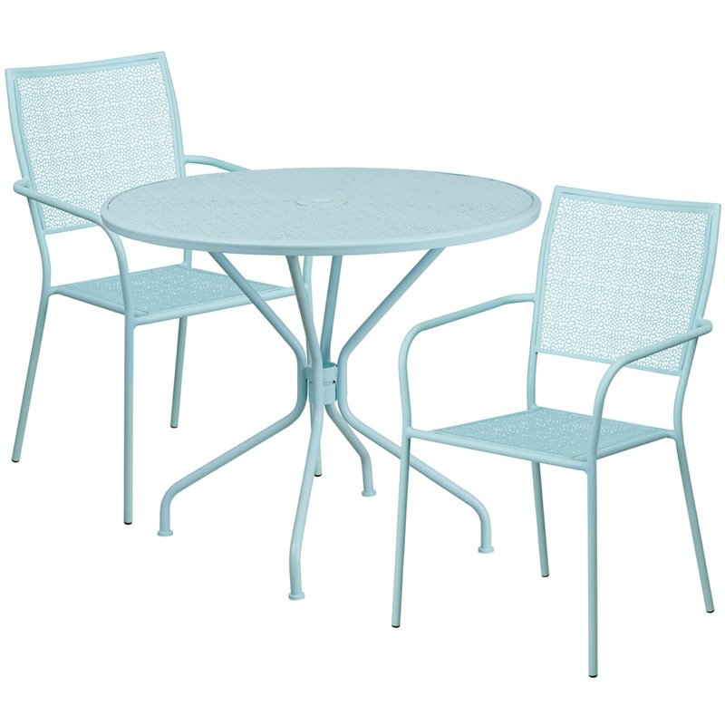"Flash Furniture 35.25"" Round Sky Blue Indoor-Outdoor Steel Patio Table Set with 2 Square Back Chairs"