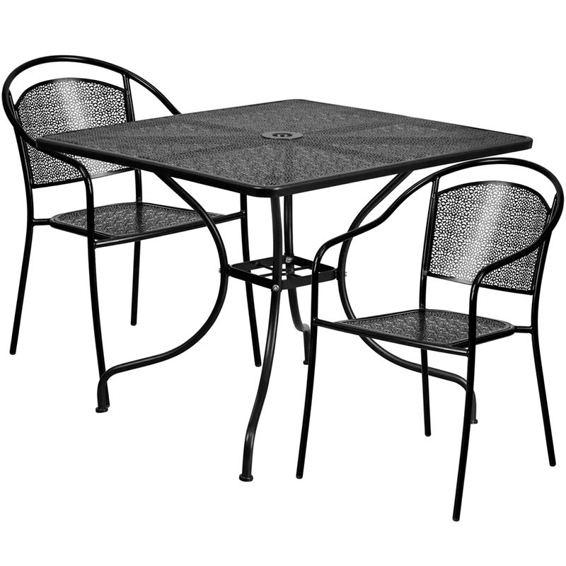 """Flash Furniture 35.5"""" Square Black Indoor-Outdoor Steel Patio Table Set with 2 Round Back Chairs (CO-35SQ-03CHR2-BK-GG)"""