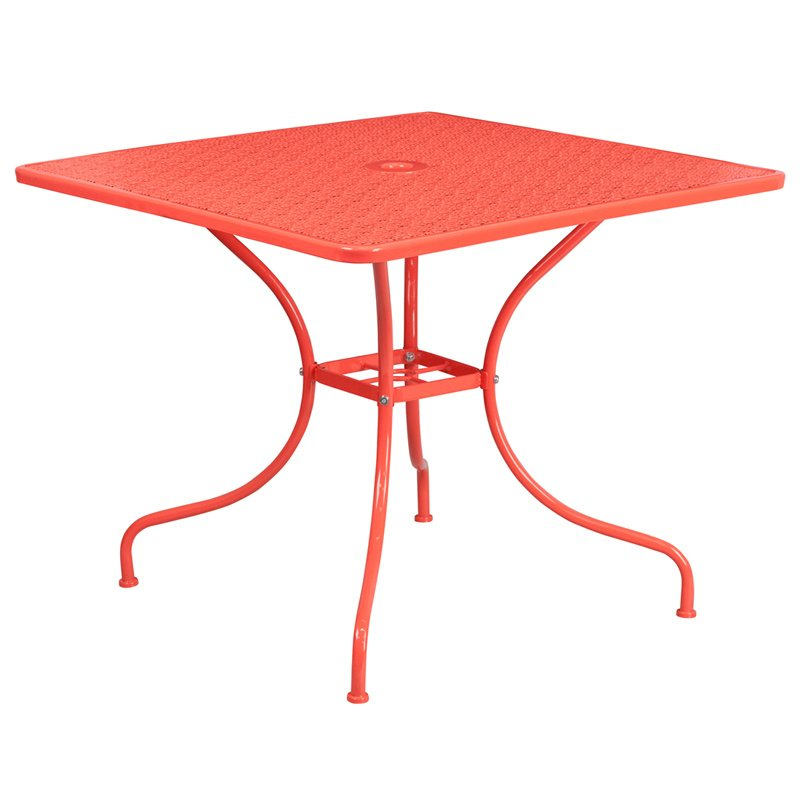 "Flash Furniture 35.5"" Square Coral Indoor-Outdoor Steel Patio Table"