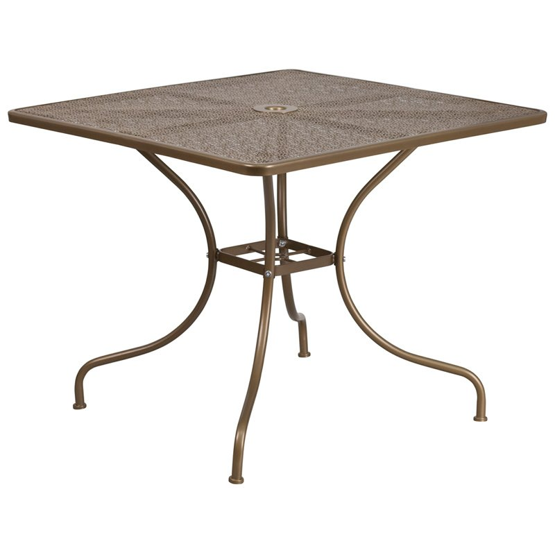 "Flash Furniture 35.5"" Square Gold Indoor-Outdoor Steel Patio Table"