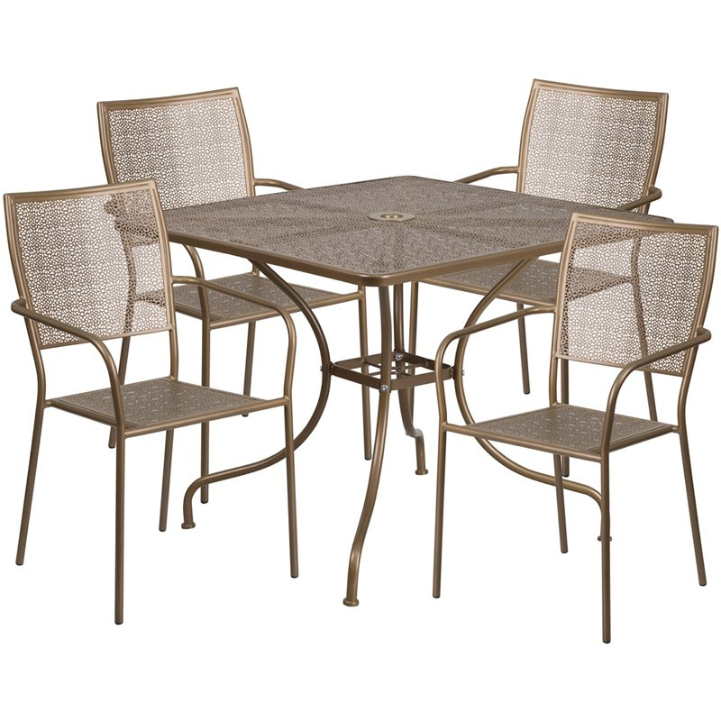 """Flash Furniture 35.5"""" Square Gold Indoor-Outdoor Steel Patio Table Set with 4 Square Back Chairs"""