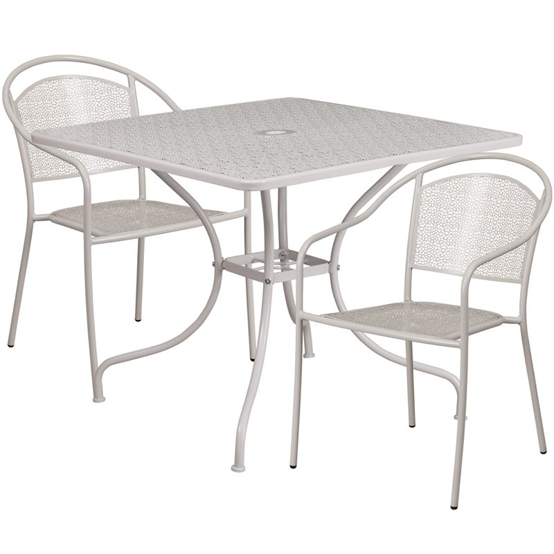 """Flash Furniture 35.5"""" Square Light Gray Indoor-Outdoor Steel Patio Table Set with 2 Round Back Chairs"""