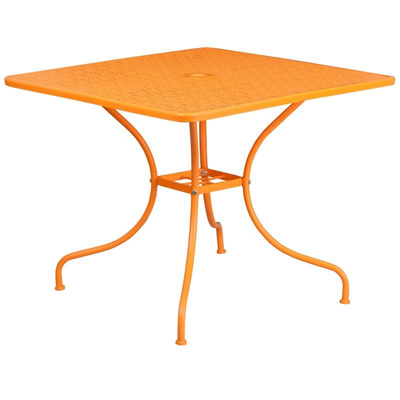"Flash Furniture 35.5"" Square Orange Indoor-Outdoor Steel Patio Table"