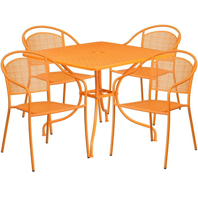 """Flash Furniture 35.5"""" Square Orange Indoor-Outdoor Steel Patio Table Set with 4 Round Back Chairs"""