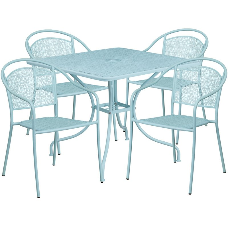 """Flash Furniture 35.5"""" Square Sky Blue Indoor-Outdoor Steel Patio Table Set with 4 Round Back Chairs"""