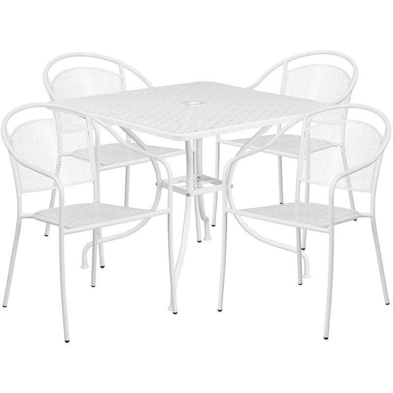 """Flash Furniture 35.5"""" Square White Indoor-Outdoor Steel Patio Table Set with 4 Round Back Chairs"""